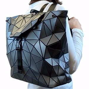 Silver Geometric Triangles Backpack  16w x13 h NEW